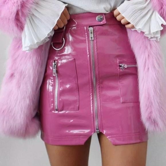 ba1a060433 Skirts   Pink Vinyl Patent Leather Vtg Mini Skirt Barbie   Poshmark